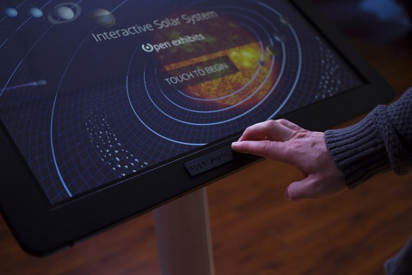 Opening screen of Enhanced Solar System Exhibit with accessibility layer